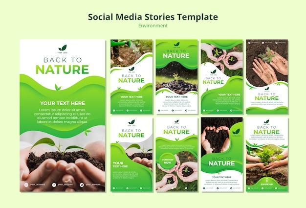 Modelo de histórias de mídia social da natureza