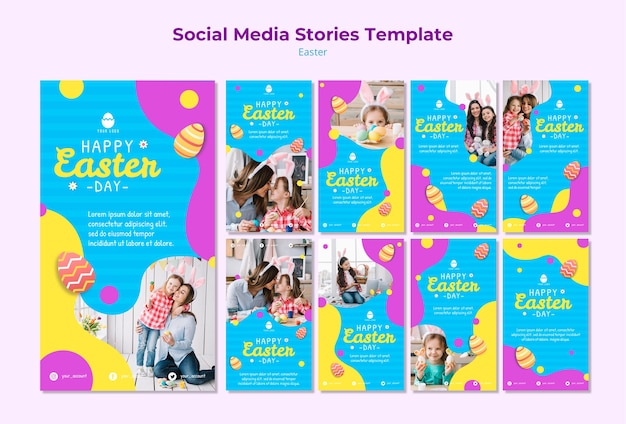 Modelo de histórias de mídia social da páscoa