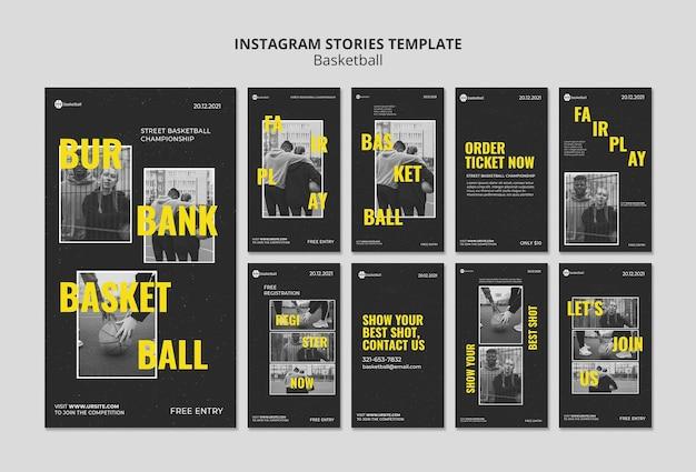 Modelo de histórias de mídia social de basquete com foto
