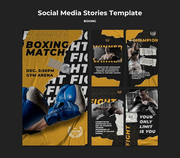 Modelo de histórias de mídia social de boxe