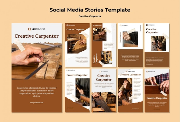 Modelo de histórias de mídia social de carpinteiro criativo