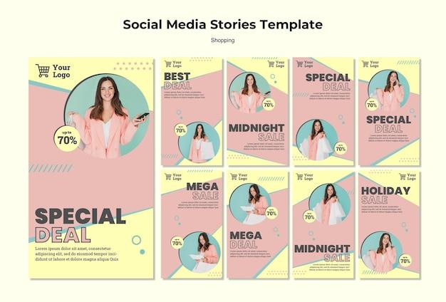 Modelo de histórias de mídia social de compras