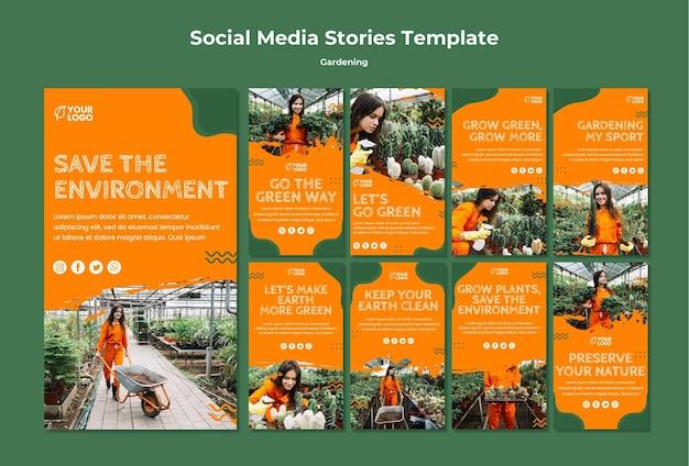 Modelo de histórias de mídia social de conceito de jardinagem