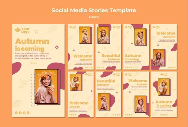 Modelo de histórias de mídia social de conceito outono