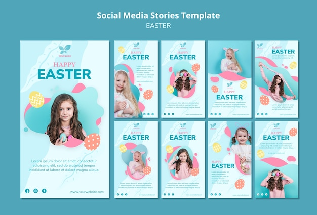 Modelo de histórias de mídia social de criança menina feliz