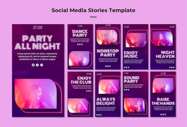 Modelo de histórias de mídia social de festa