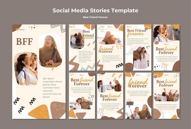 Modelo de histórias de mídia social de melhores amigos para sempre