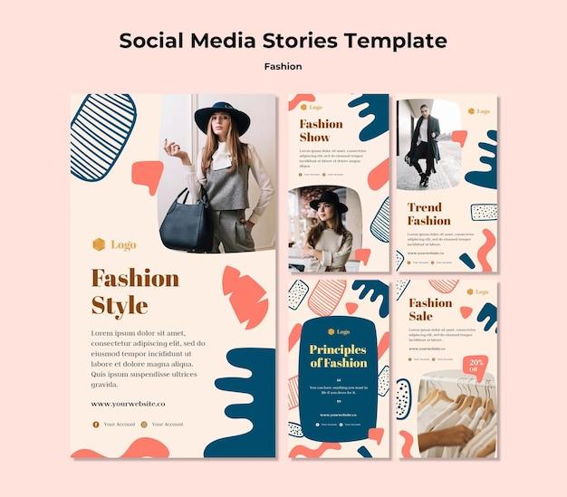 Modelo de histórias de mídia social de moda