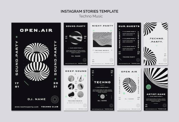 Modelo de histórias de mídia social de música techno