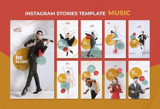 Modelo de histórias de mídia social de música