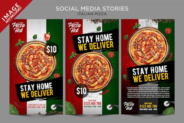 Modelo de histórias de mídia social de pizza italiana