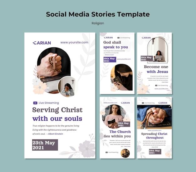 Modelo de histórias de mídia social de religiões