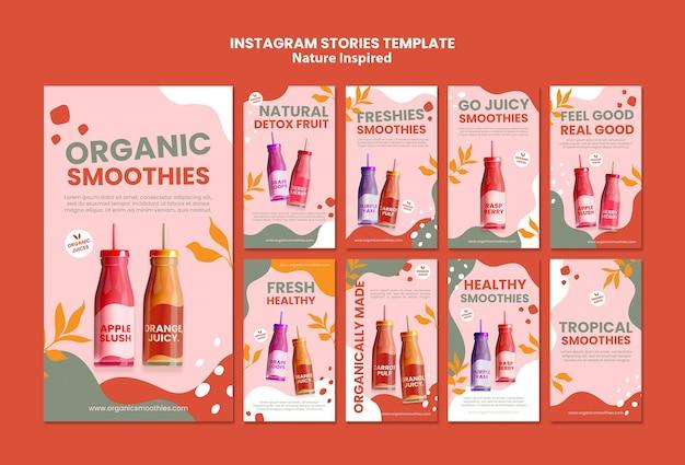 Modelo de histórias de mídia social de smoothies orgânicos deliciosos