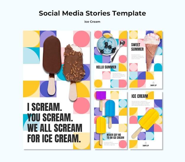 Modelo de histórias de mídia social de sorvete