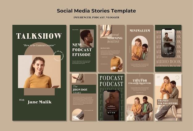 Modelo de histórias de mídia social do conceito de influenciador