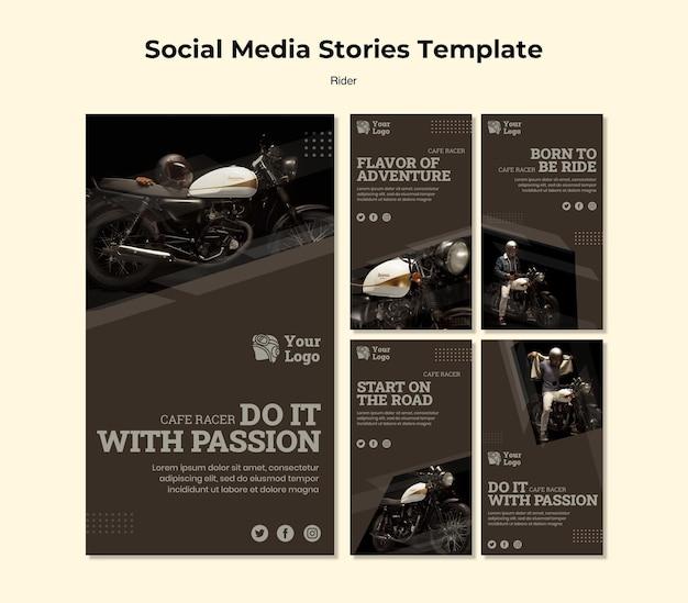 Modelo de histórias de mídia social do conceito rider
