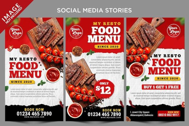 Modelo de histórias de mídia social do menu de itens populares