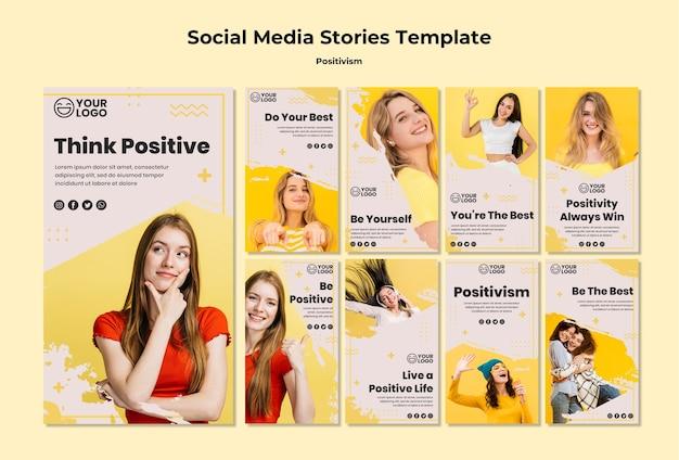 Modelo de histórias de mídia social do positivismo