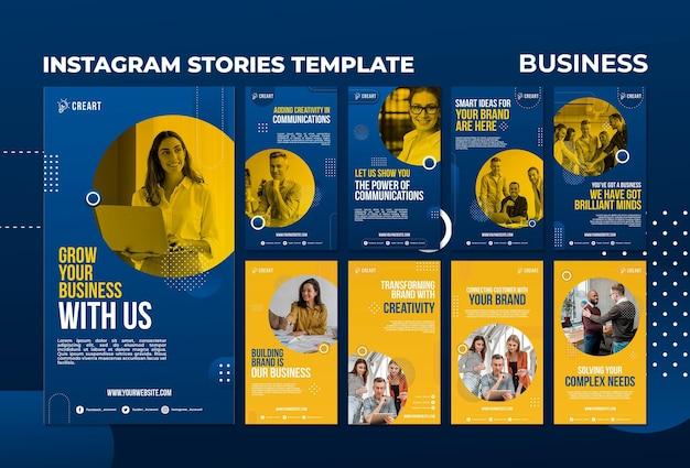 Modelo de histórias de mídia social empresarial com foto