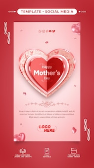 Modelo de histórias de mídia social feliz dia das mães com texto editável