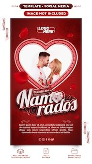 Modelo de histórias de mídia social feliz dia dos namorados romântico