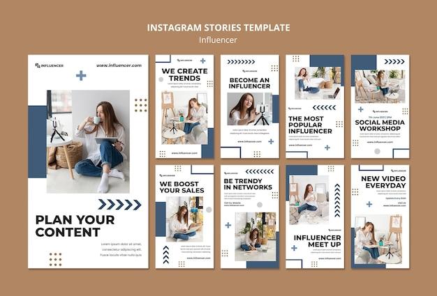 Modelo de histórias de mídia social influenciador com foto