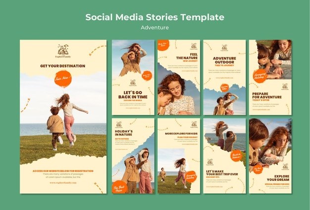 Modelo de histórias de mídia social para crianças de aventura ao ar livre