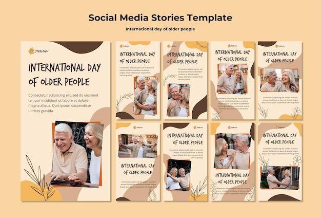 Modelo de histórias de mídia social para o dia internacional dos idosos
