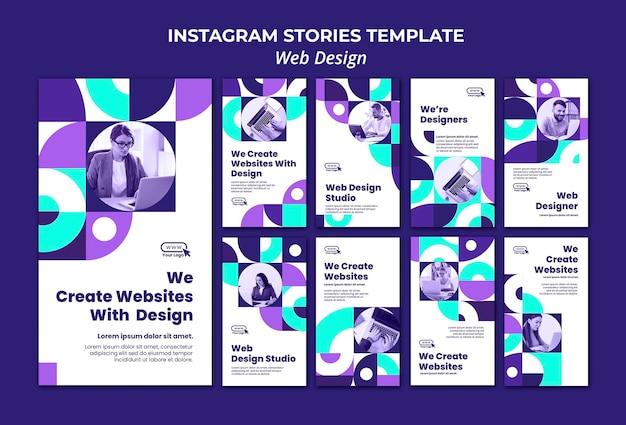 Modelo de histórias de mídia social para web design