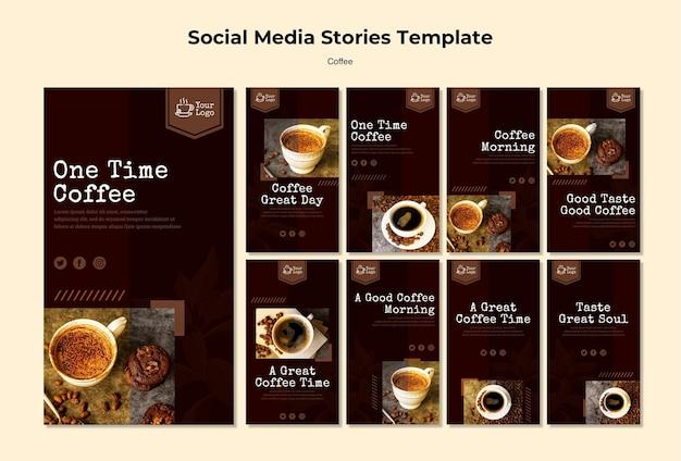 Modelo de histórias de mídias sociais de café