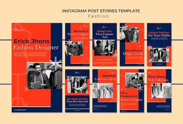 Modelo de histórias de moda instagram com foto