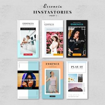 Modelo de histórias de moda no instagram