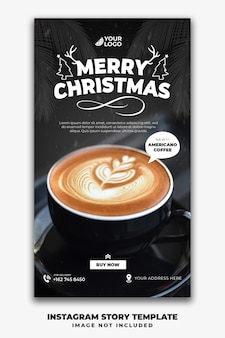 Modelo de histórias de natal no instagram para café no menu de comida de restaurante