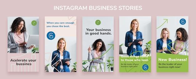 Modelo de histórias de negócios do instagram