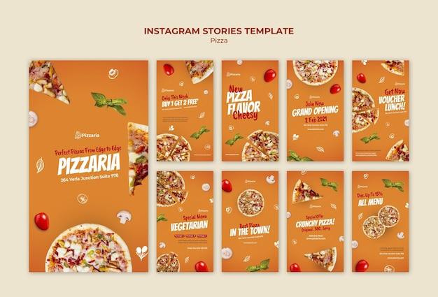 Modelo de histórias de pizza no instagram