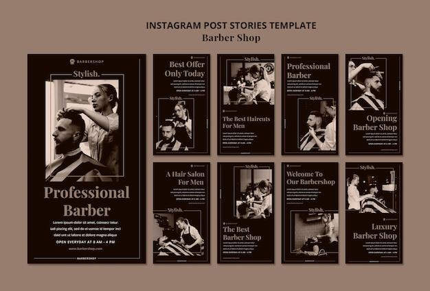 Modelo de histórias de postagens de instagram de barbearia