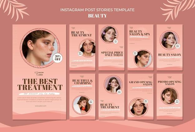Modelo de histórias de postagens instagram de beleza