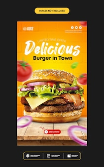 Modelo de histórias de postagens no instagram em mídias sociais para menu de comida de restaurante