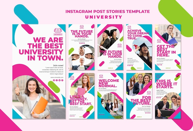 Modelo de histórias de publicação do instagram da universidade