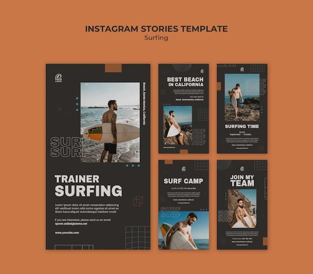 Modelo de histórias de surf no instagram