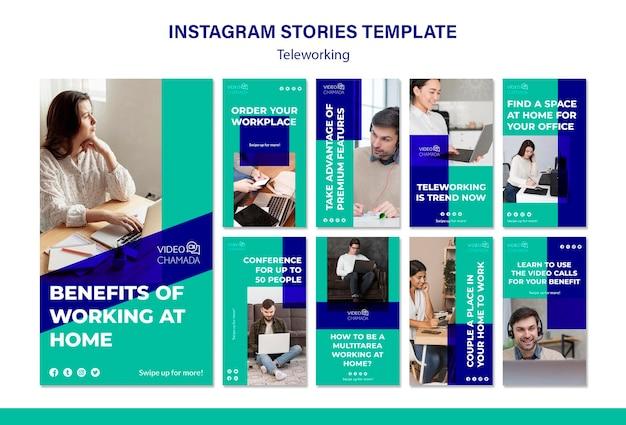 Modelo de histórias de teletrabalho no instagram