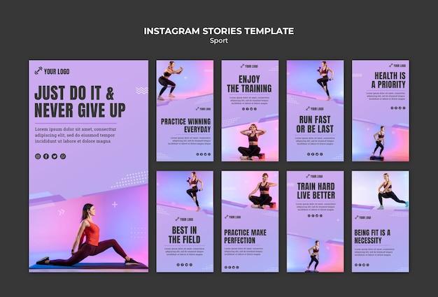 Modelo de histórias do esporte conceito instagram