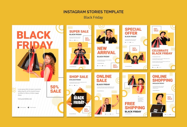 Modelo de histórias do instagram black friday