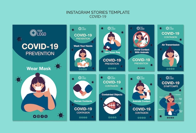 Modelo de histórias do instagram com 19 covid