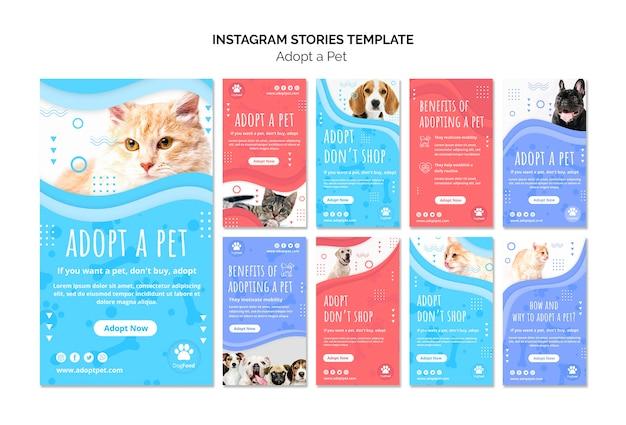 Modelo de histórias do instagram com animal de estimação adotado