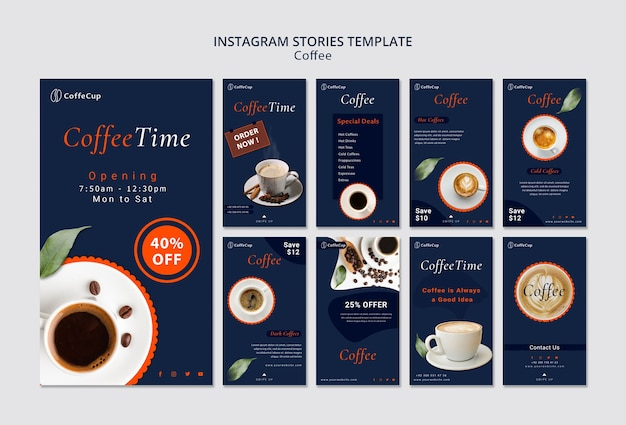 Modelo de histórias do instagram com café
