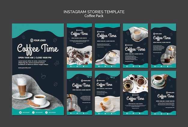 Modelo de histórias do instagram com café