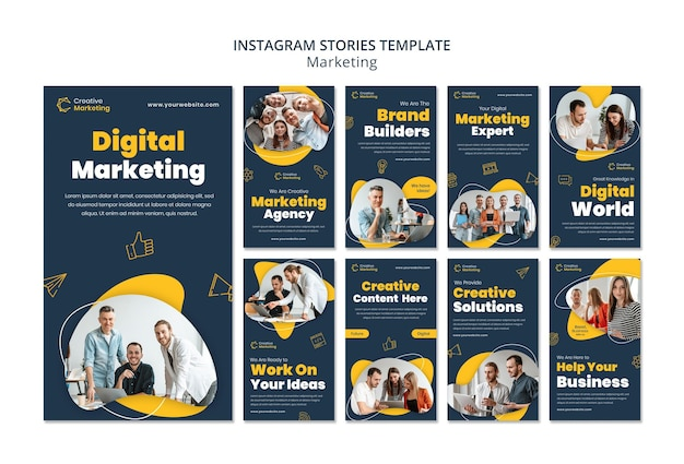 Modelo de histórias do instagram com conceito de marketing digital