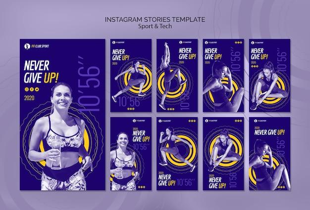 Modelo de histórias do instagram com esportes e tecnologia
