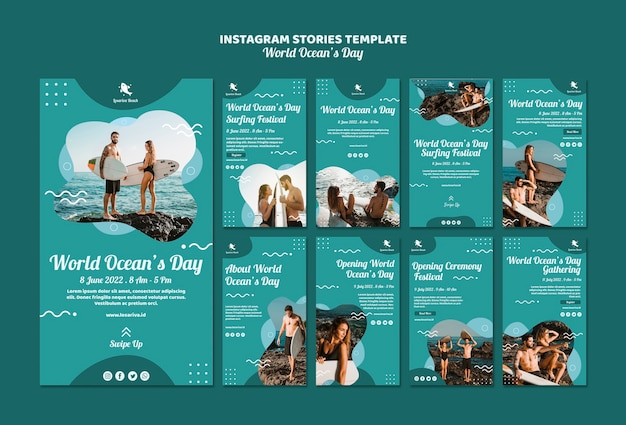 Modelo de histórias do instagram com o dia mundial dos oceanos